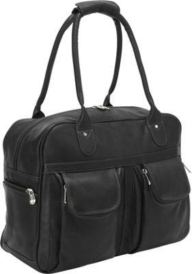 Piel Multi-Pocket Satchel Black - Piel Luggage Totes and Satchels
