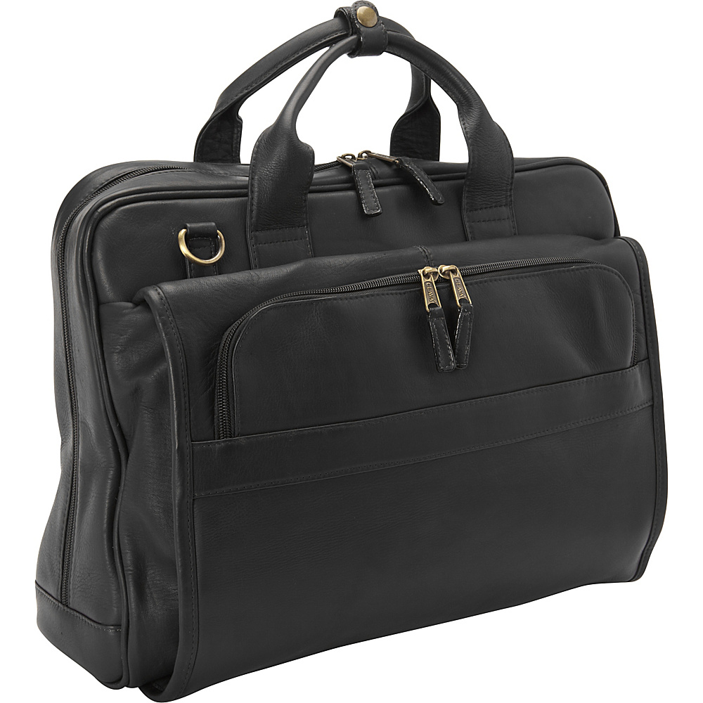 Clava Leather Top Handle Accordian Brief Vachetta Black - Clava Non-Wheeled Business Cases