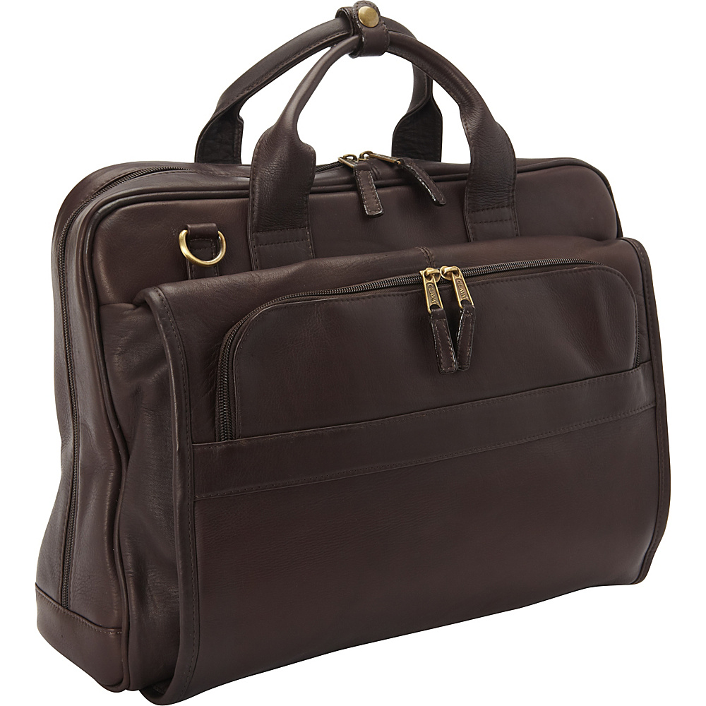 Clava Leather Top Handle Accordian Brief Vachetta Cafe - Clava Non-Wheeled Business Cases