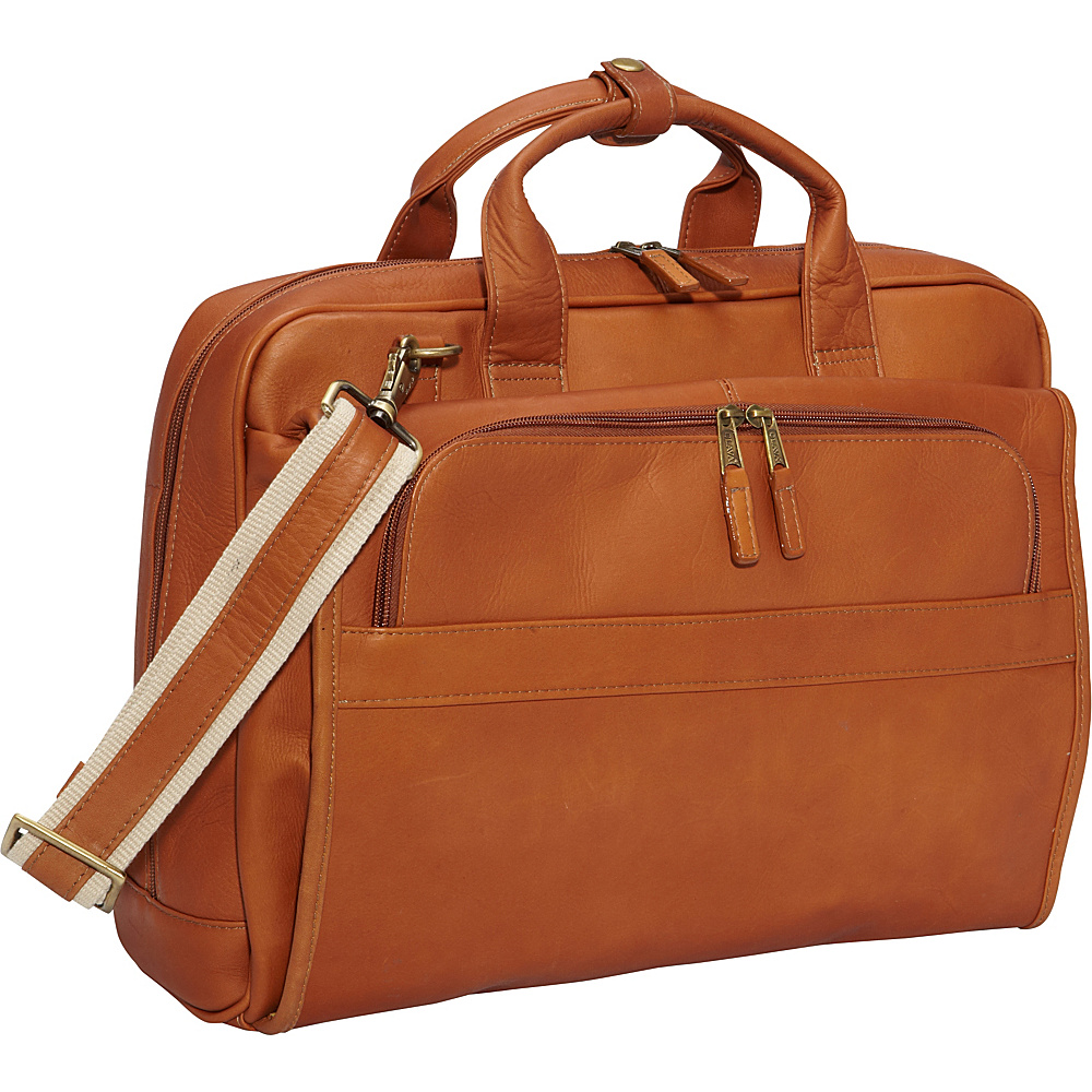 Clava Leather Top Handle Accordian Brief Vachetta Tan - Clava Non-Wheeled Business Cases