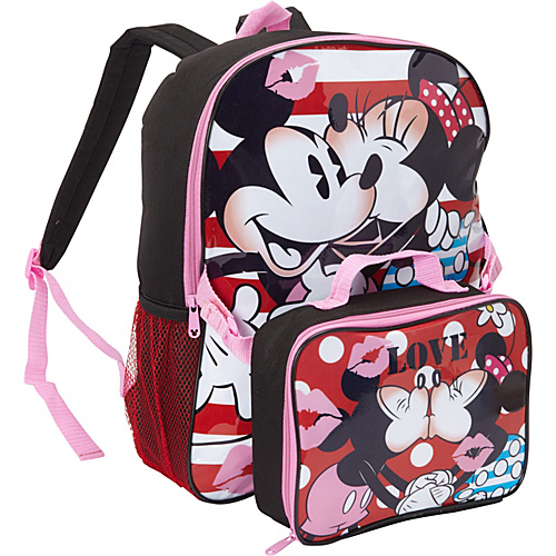 Disney Minnie Mouse & Mickey Mouse Backpack with Lunch Box Black - Disney School & Day Hiking Backpacks