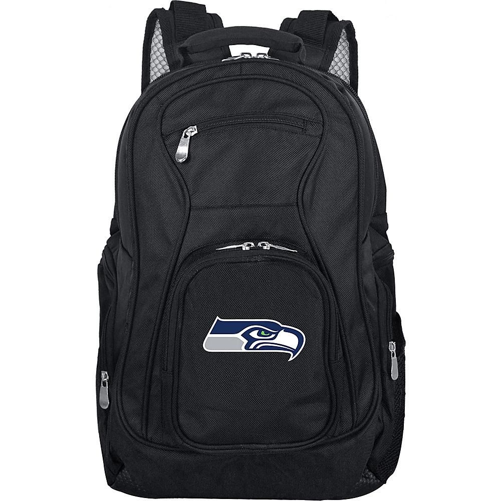 "Denco Sports Luggage NFL Seattle Seahawks 19"" Laptop Backpack Black - Denco Sports Luggage Laptop Backpacks"