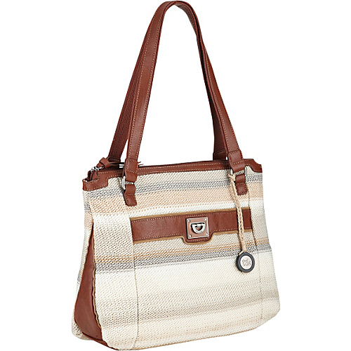 The Sak Huntington Knit Satchel Shoulder Bag Sand Stripe - The Sak Leather Handbags