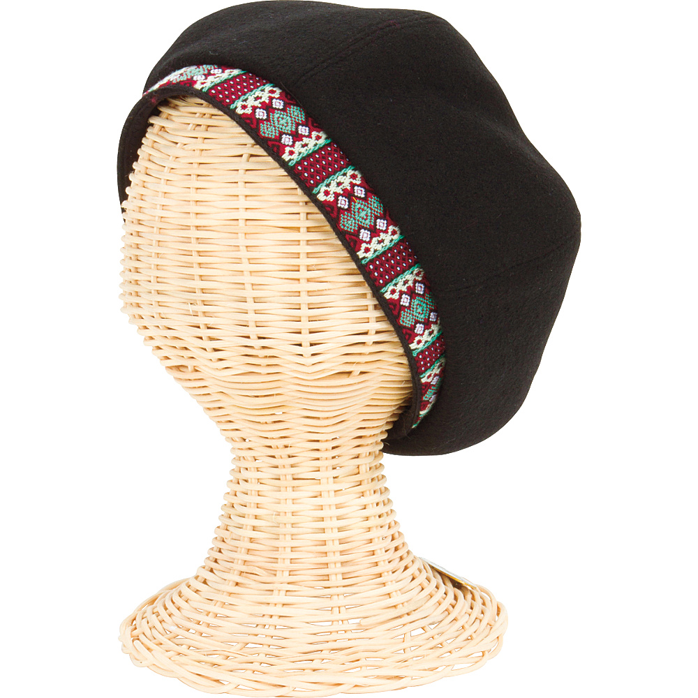 San Diego Hat Wool Beret Hat with Jacquard Band at Opening Black San Diego Hat Hats Gloves Scarves