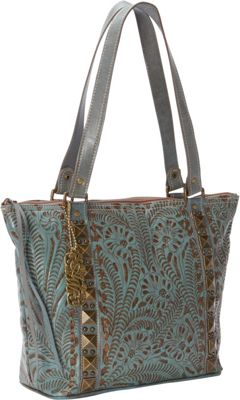 American West Globe Trotter Zip-top Bucket Tote Sky Blue - American West Leather Handbags