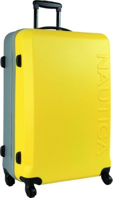 Nautica Ahoy Hardside Spinner Luggage - 28 inch Yellow/Silver/Silver - Nautica Large Rolling Luggage