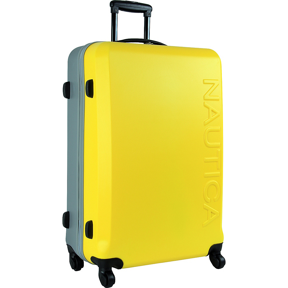 """Nautica Ahoy Hardside Spinner Luggage - 28"""" Yellow/Silver/Silver - Nautica Hardside Checked"""
