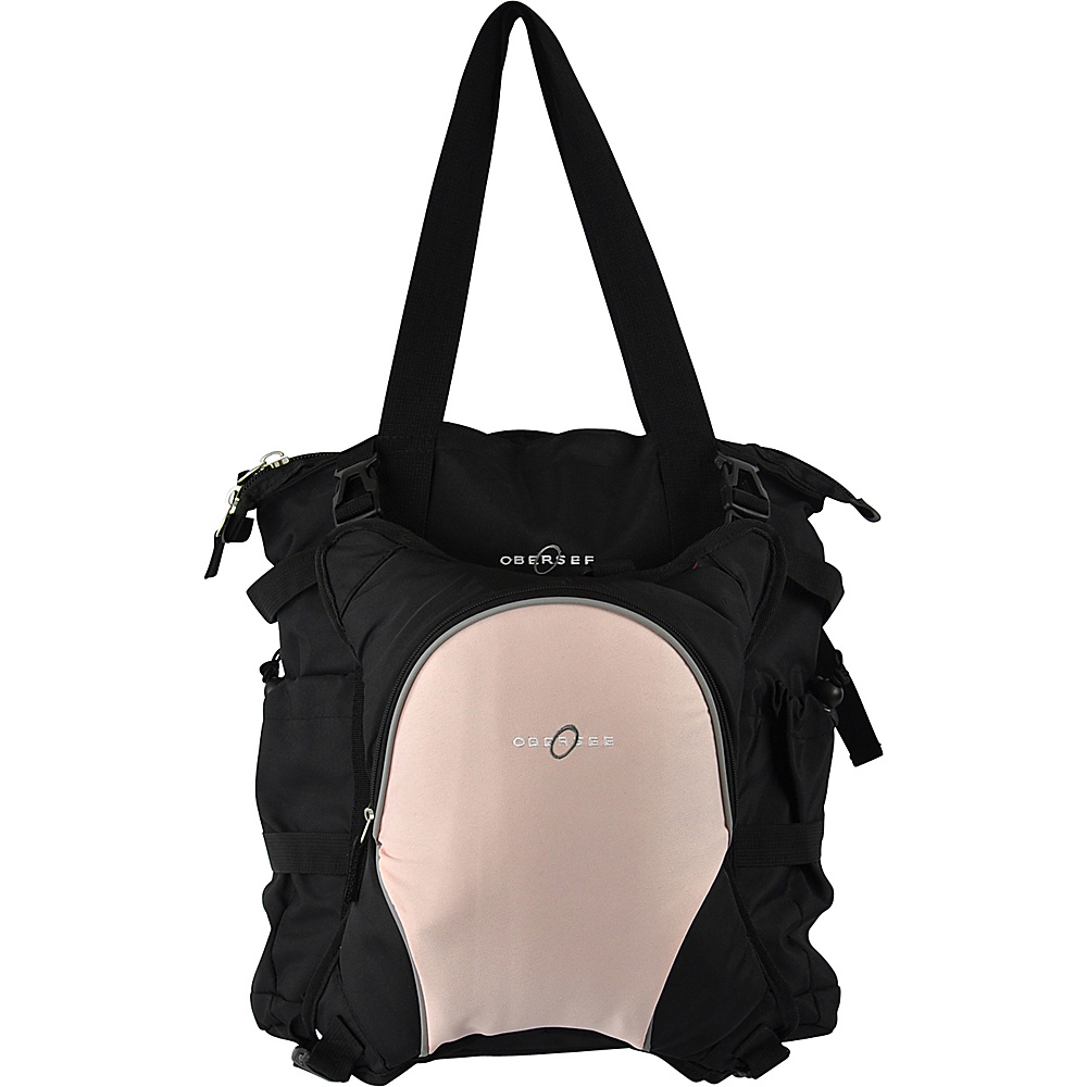 Obersee Innsbruck Diaper Bag Tote with Cooler Black Bubble Gum Obersee Diaper Bags Accessories
