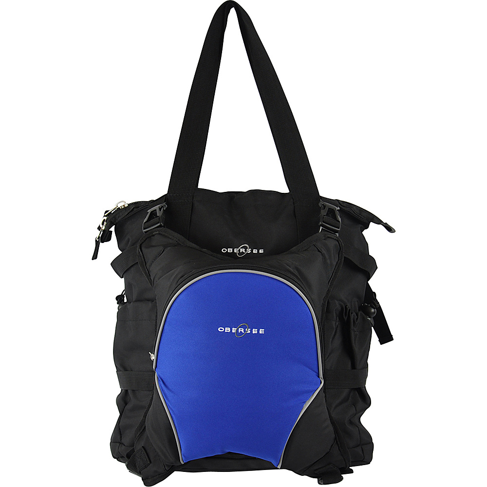 Obersee Innsbruck Diaper Bag Tote with Cooler Black Royal Blue Obersee Diaper Bags Accessories