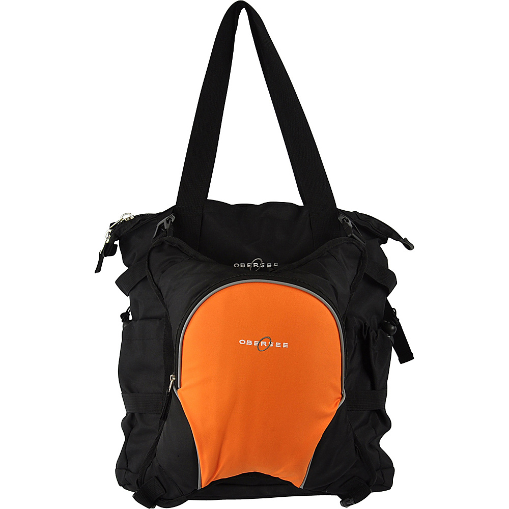 Obersee Innsbruck Diaper Bag Tote with Cooler Black Orange Obersee Diaper Bags Accessories