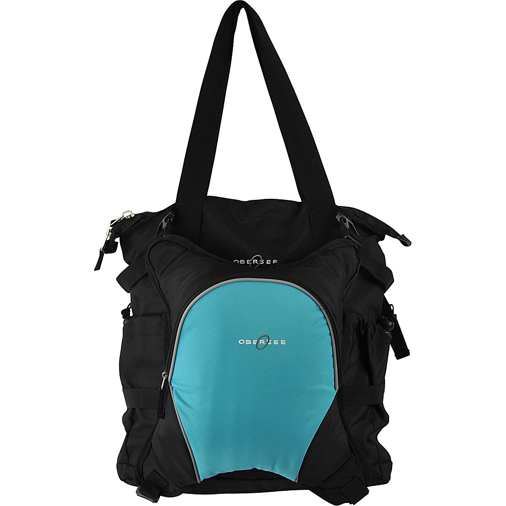 Obersee Innsbruck Diaper Bag Tote with Cooler Black Turquoise Obersee Diaper Bags Accessories