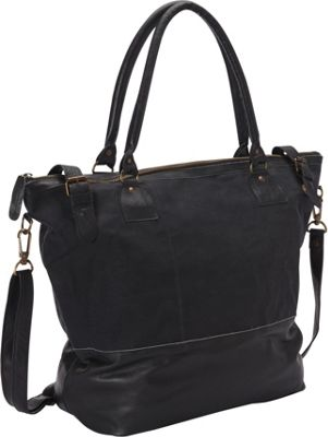Sharo Leather Bags Large Leather Tote with Canvas Black - Sharo Leather Bags Leather Handbags