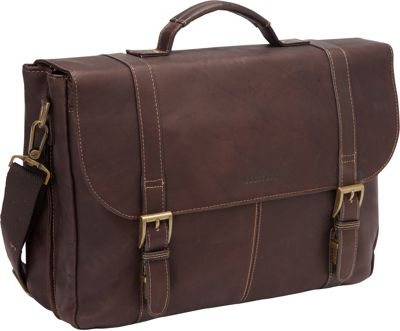 Heritage Colombian Leather Flapover Briefcase Brown - Heritage Non-Wheeled Business Cases