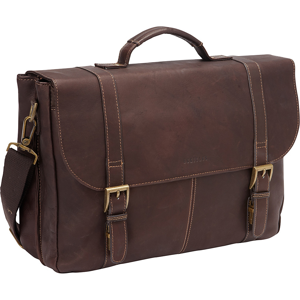 Heritage Colombian Leather Flapover Briefcase Brown Heritage Non Wheeled Business Cases