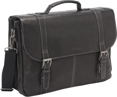 Heritage Heritage Colombian Leather Flapover Briefcase Black - Heritage Non-Wheeled Business Cases