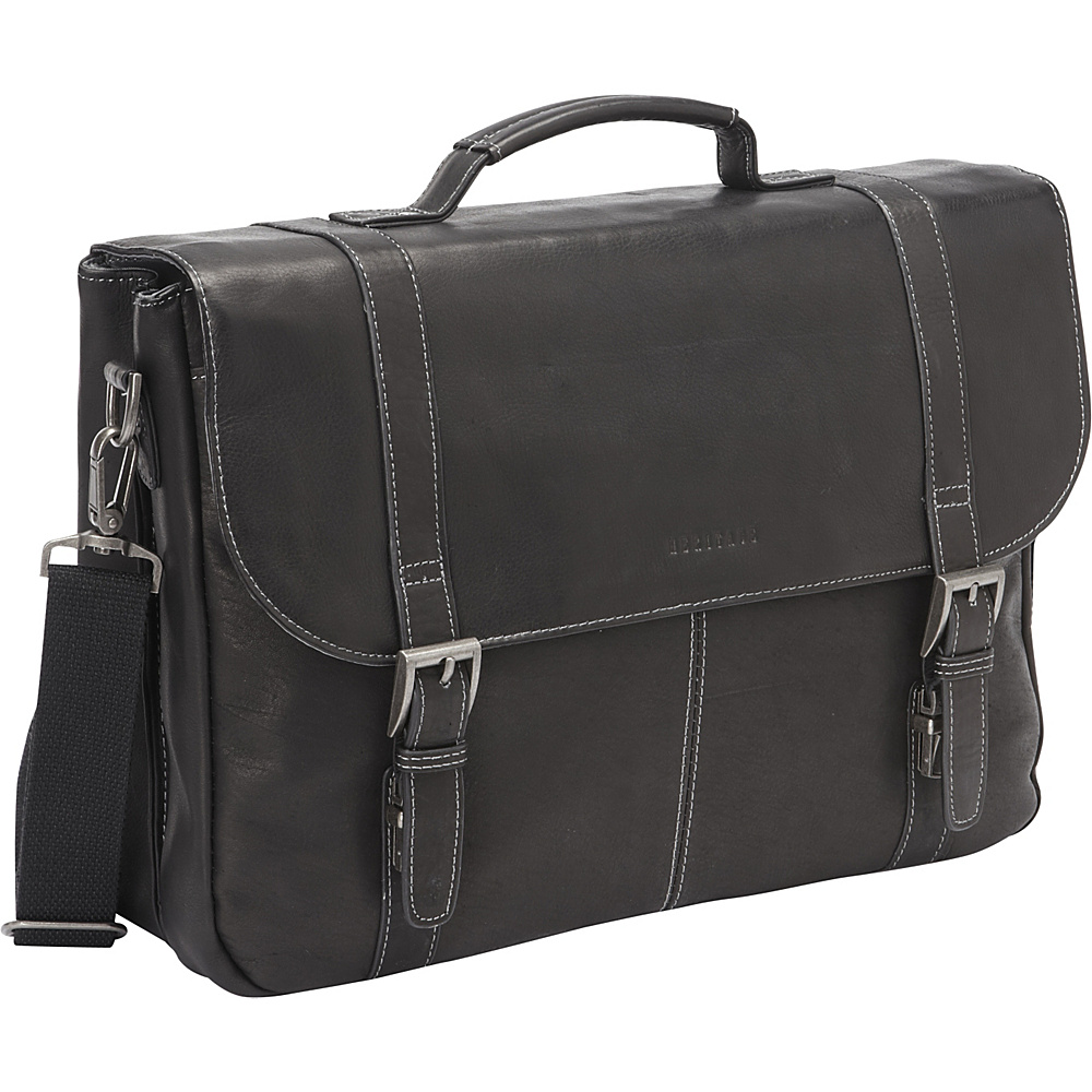 Heritage Colombian Leather Flapover Briefcase Black - Heritage Non-Wheeled Business Cases