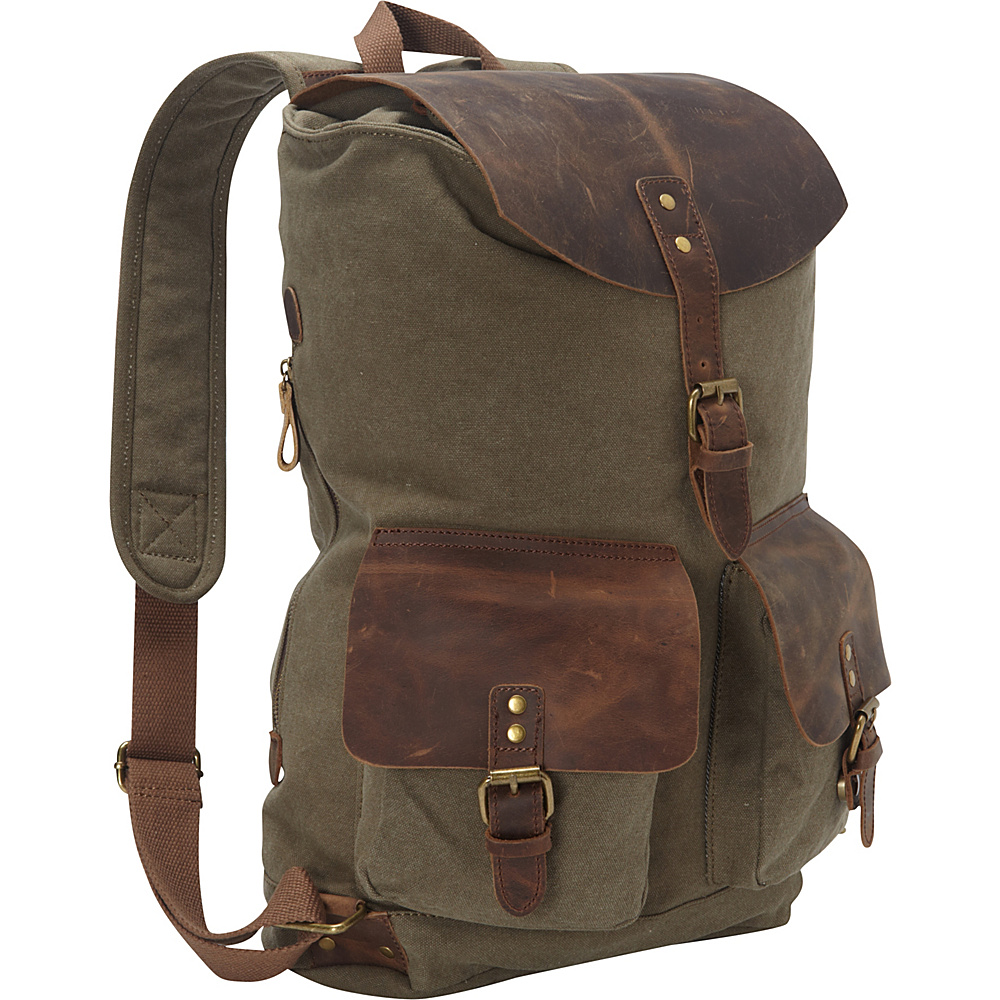 Vagabond Traveler Hiking Sport Cowhide Leather Cotton Canvas Backpack Military Green - Vagabond Traveler Day Hiking Backpacks - Outdoor, Day Hiking Backpacks