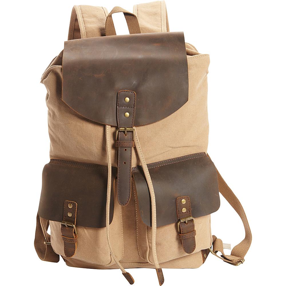 Vagabond Traveler Hiking Sport Cowhide Leather Cotton Canvas Backpack Khaki - Vagabond Traveler Day Hiking Backpacks - Outdoor, Day Hiking Backpacks