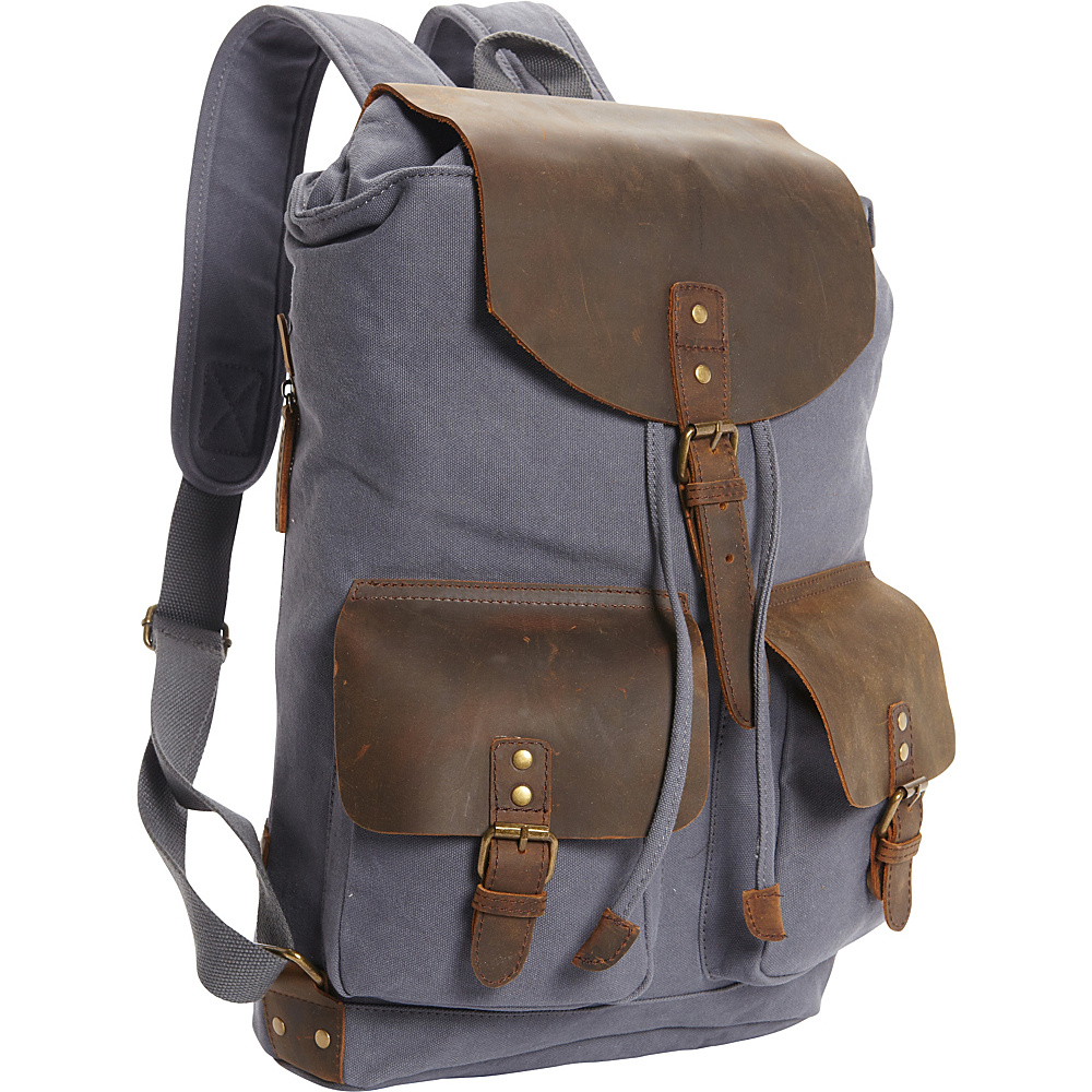 Vagabond Traveler Hiking Sport Cowhide Leather Cotton Canvas Backpack Blue Grey - Vagabond Traveler Day Hiking Backpacks - Outdoor, Day Hiking Backpacks