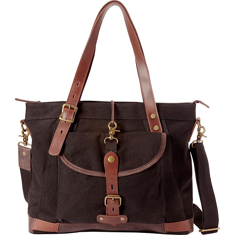 Vagabond Traveler Casual Style Art Design Cowhide Cotton Canvas Shoulder Bag Black - Vagabond Traveler All-Purpose Totes - Travel Accessories, All-Purpose Totes
