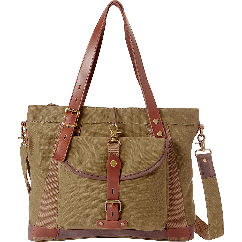 Vagabond Traveler Casual Style Art Design Cowhide Cotton Canvas Shoulder Bag Green - Vagabond Traveler All-Purpose Totes - Travel Accessories, All-Purpose Totes