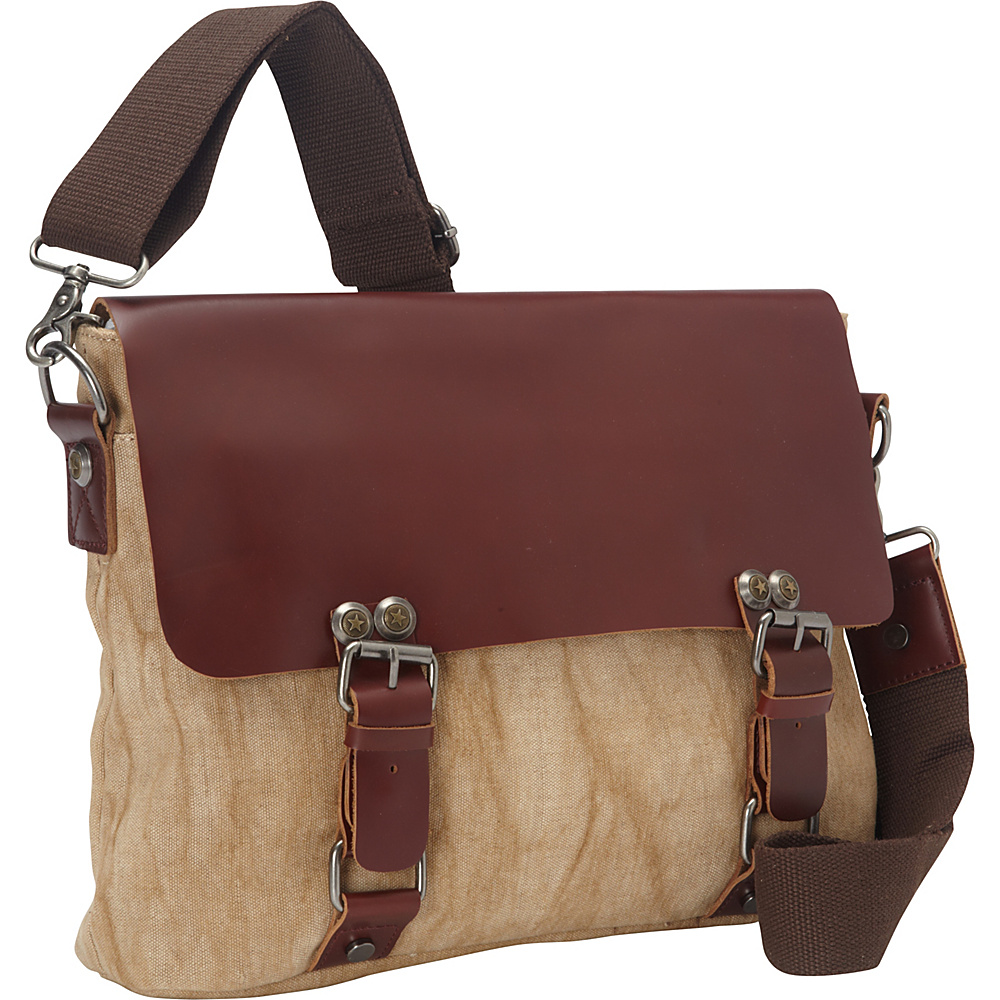 Vagabond Traveler Casual Style Cowhide Leather Linen Fabric Messenger Bag Khaki - Vagabond Traveler Messenger Bags - Work Bags & Briefcases, Messenger Bags