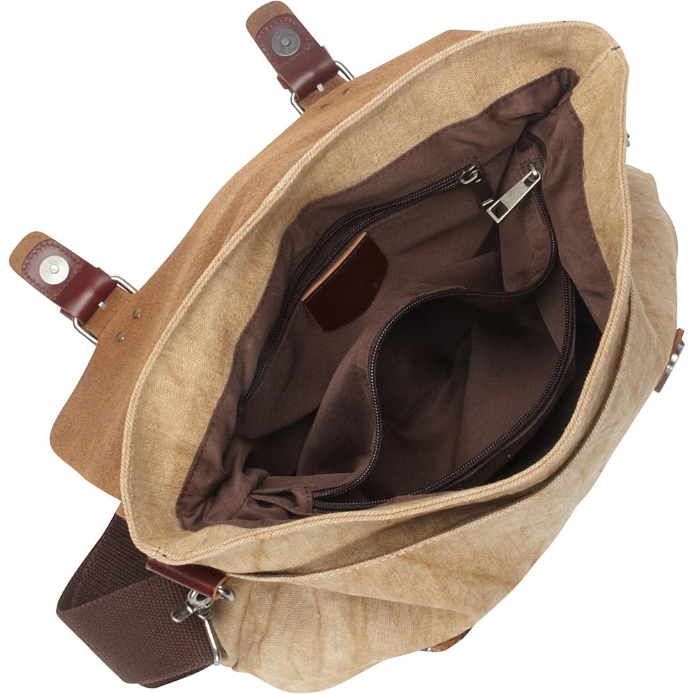 Vagabond Traveler Casual Style Cowhide Leather Linen Fabric Messenger Bag Khaki - Vagabond Traveler Messenger Bags