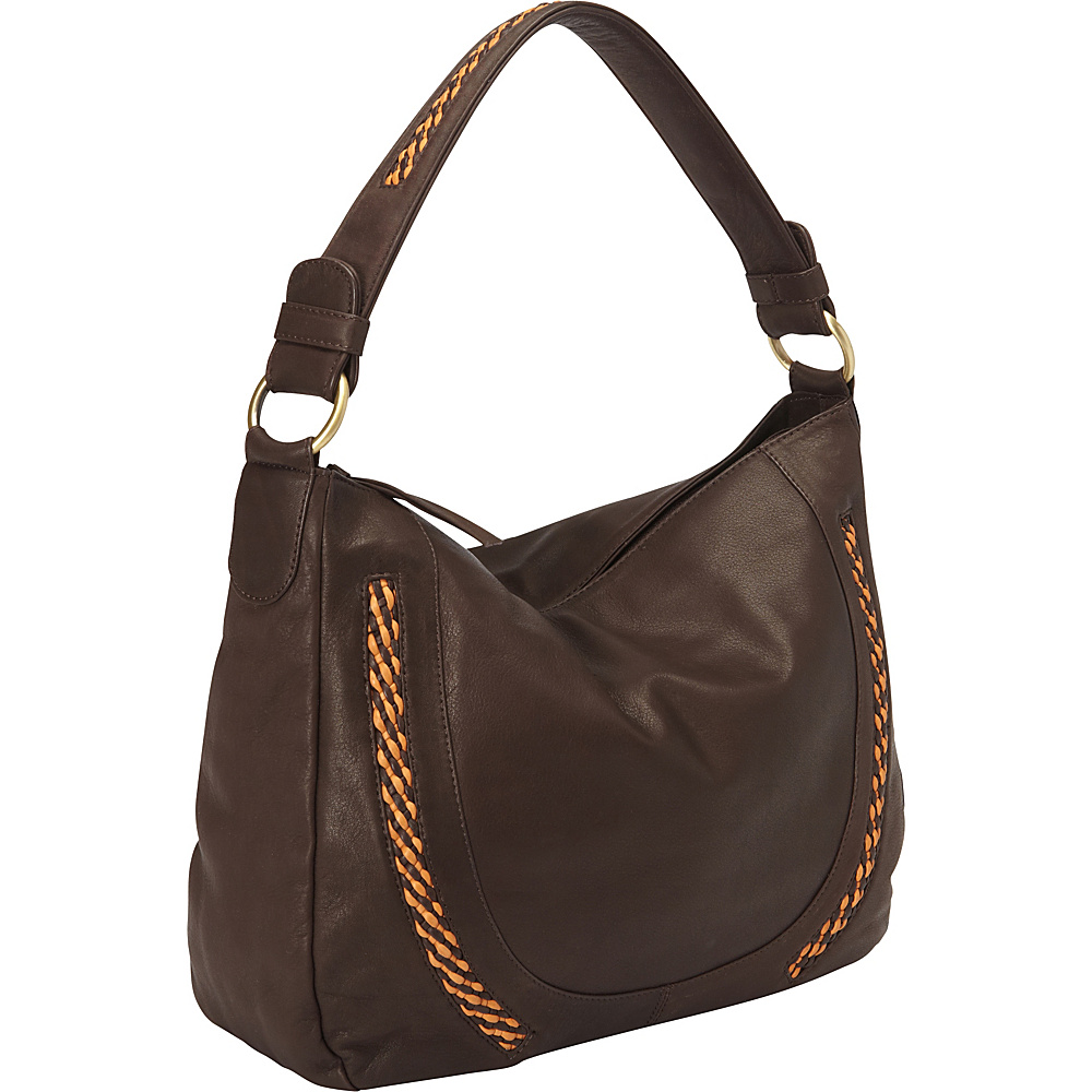 Derek Alexander Inset Top Zip Slouch Bag Brown Tan Derek Alexander Leather Handbags