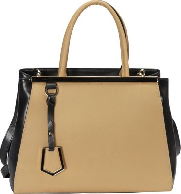 Donna Bella Designs Madison Tote Beige/Black - Donna Bella Designs Leather Handbags