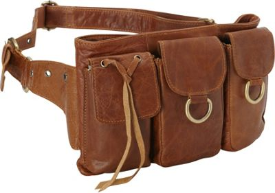 Vicenzo Leather Large Adonis Genuine Leather Waist Purse Fanny Pack Brown - Large - Vicenzo Leather Waist Packs