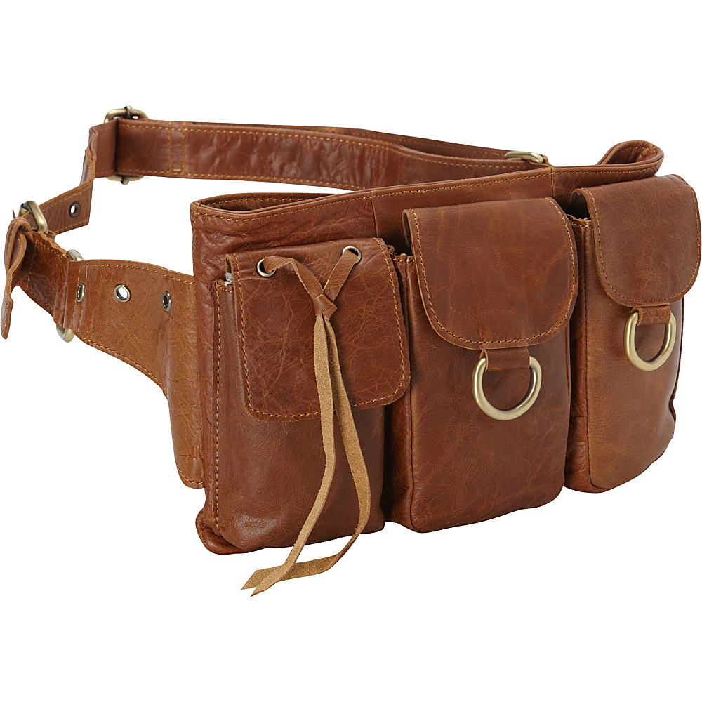 Vicenzo Leather Large Adonis Genuine Leather Waist Purse Fanny Pack Brown Large Vicenzo Leather Waist Packs