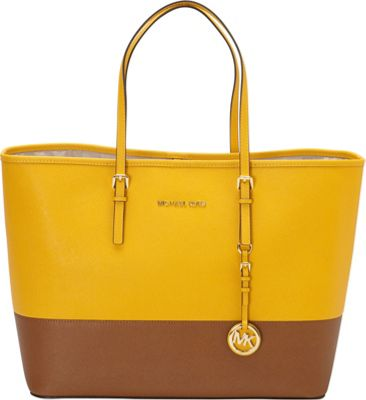 MICHAEL Michael Kors Jet Set Medium Colorblock Tote Sun/Luggage - MICHAEL Michael Kors Designer Handbags