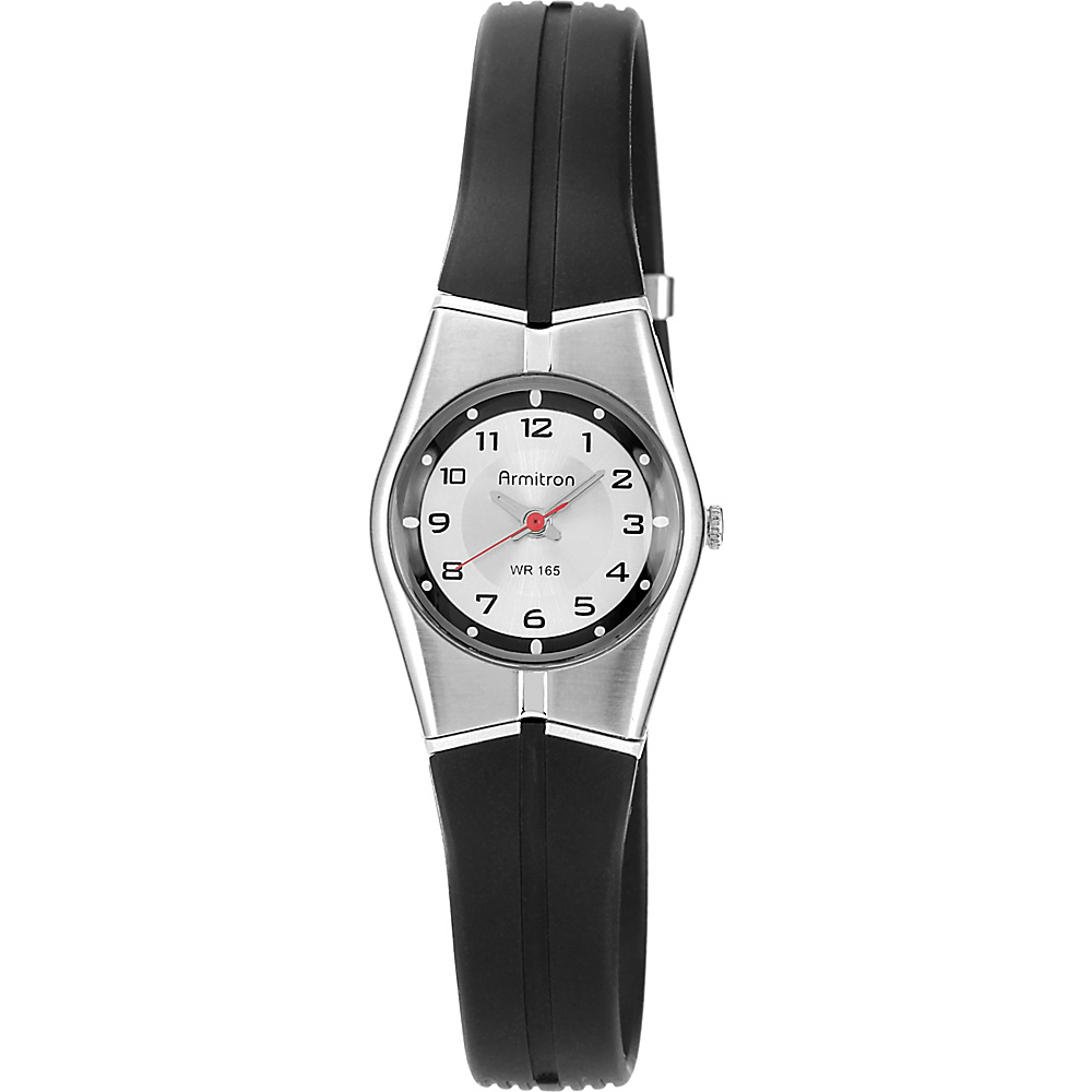 Armitron Ladies Black and Silver Analog Resin Strap Watch Black - Armitron Watches