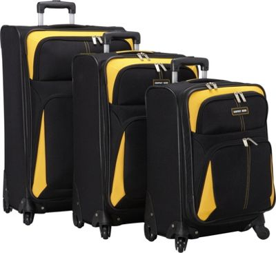 Geoffrey Beene Luggage Golden Gate Collection Luggage Set Black with Yellow Trim - Geoffrey Beene Luggage Luggage Sets