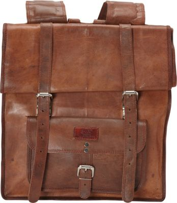 Sharo Leather Bags Large Roll Up Backpack Brown - Sharo Leather Bags School & Day Hiking Backpacks