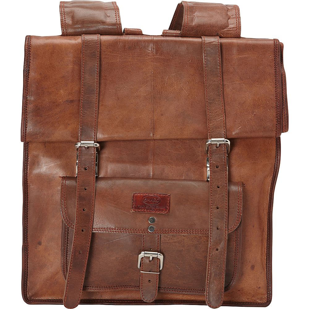 Sharo Leather Bags Large Roll Up Backpack Brown - Sharo Leather Bags Everyday Backpacks