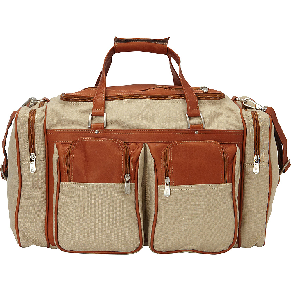 Piel 20in Duffel Bag with Pockets - Canvas and Leather Saddle - Piel Travel Duffels - Duffels, Travel Duffels