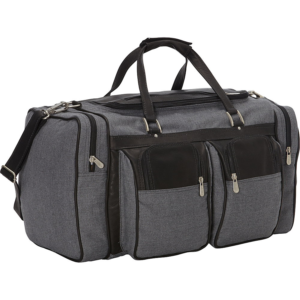 Piel 20in Duffel Bag with Pockets - Canvas and Leather Black - Piel Travel Duffels - Duffels, Travel Duffels