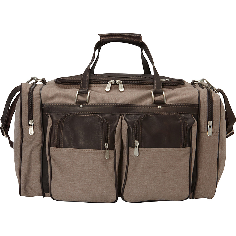 Piel 20in Duffel Bag with Pockets - Canvas and Leather Chocolate - Piel Travel Duffels - Duffels, Travel Duffels