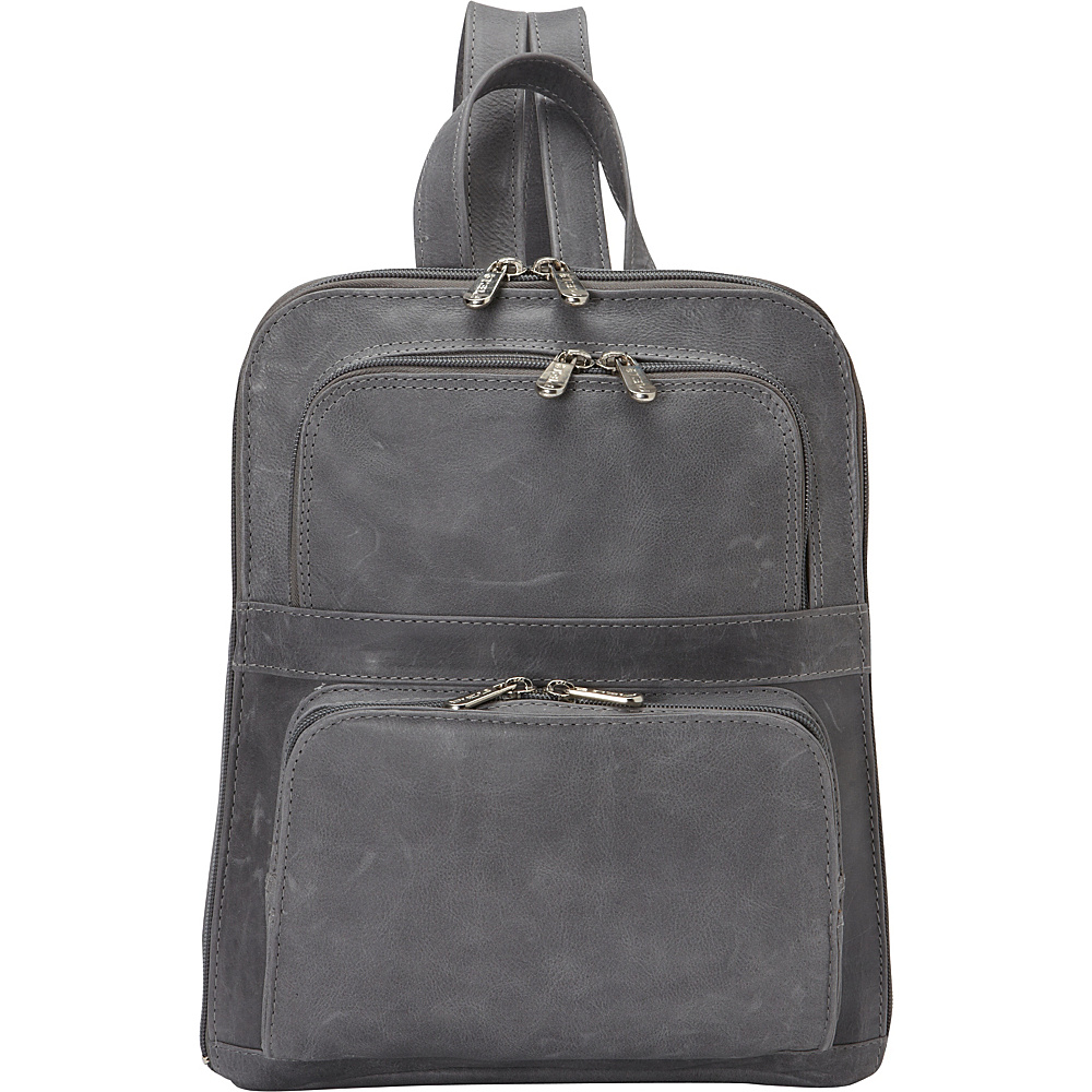 Piel Slim Tablet Laptop Backpack w/Front Pockets Charcoal - Piel Leather Handbags - Handbags, Leather Handbags