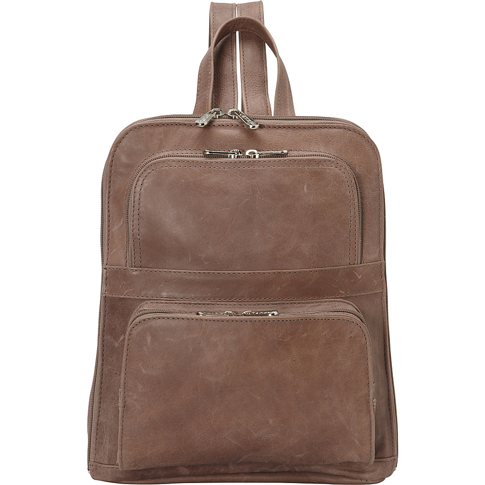 Piel Slim Tablet Laptop Backpack w/Front Pockets Toffee- eBags Exclusive - Piel Leather Handbags - Handbags, Leather Handbags