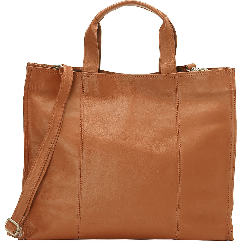 Piel Carry-All Tote Saddle - Piel Leather Handbags