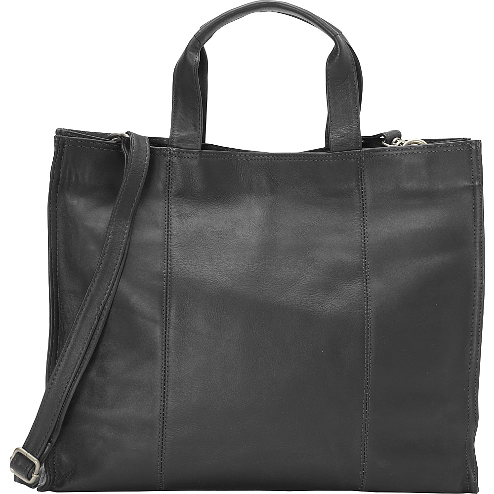 Piel Carry-All Tote Black - Piel Leather Handbags - Handbags, Leather Handbags