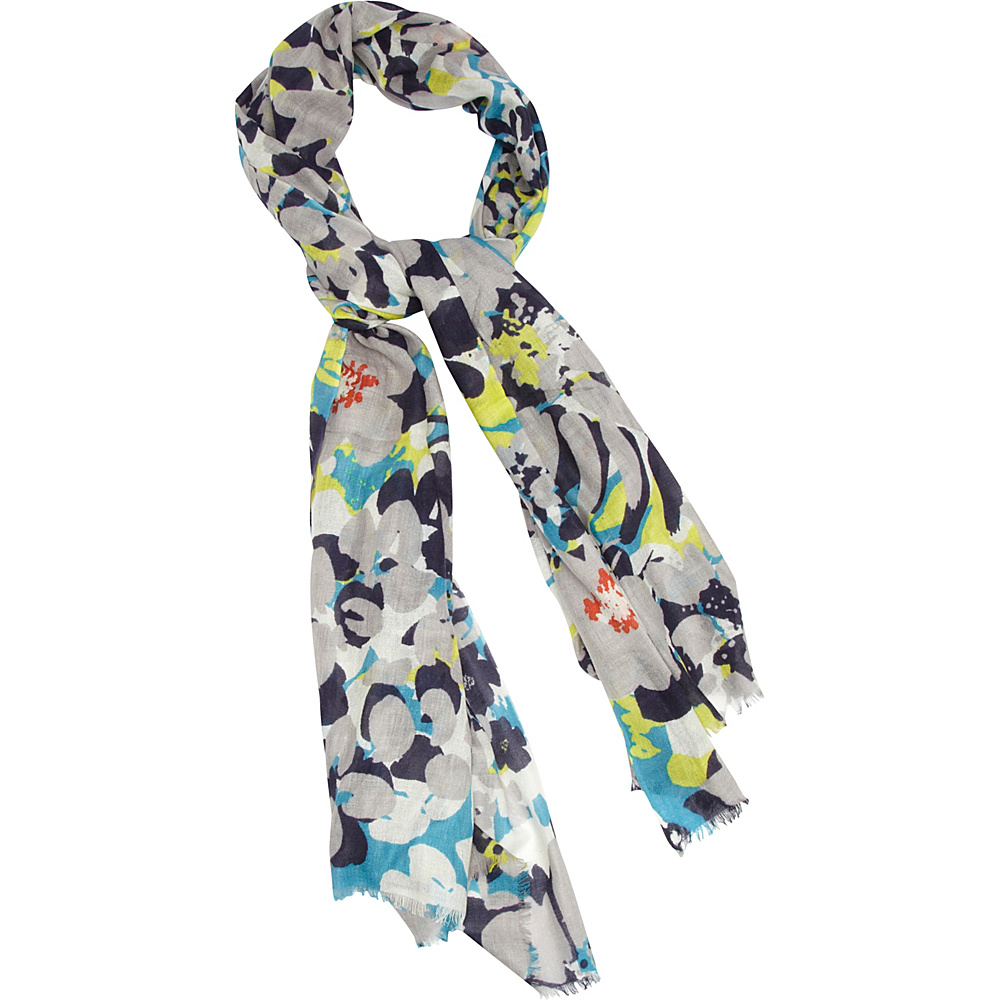 Kinross Cashmere Floral Print Scarf Birch Multi - Kinross Cashmere Hats/Gloves/Scarves - Fashion Accessories, Hats/Gloves/Scarves
