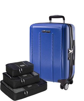 eBags Value Set:  EXO 2.0 Hardside Spinner Carry-on + Packing Cube - 3pc Set Blue - eBags Hardside Carry-On
