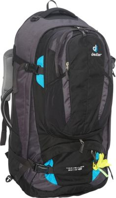 Deuter Traveller 60 + 10 SL Travel Backpack Black/Turquoise - Deuter Day Hiking Backpacks
