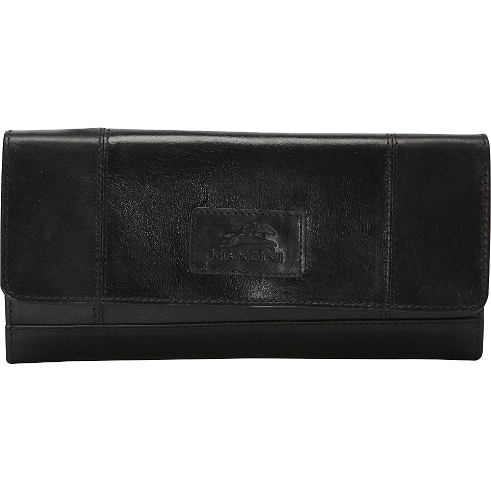 Mancini Leather Goods Ladies RFID Clutch Wallet Black Mancini Leather Goods Women s Wallets