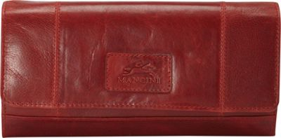 Mancini Leather Goods Casablanca Collection: Ladies Large RFID Clutch Wallet Red - Mancini Leather Goods Women's Wallets