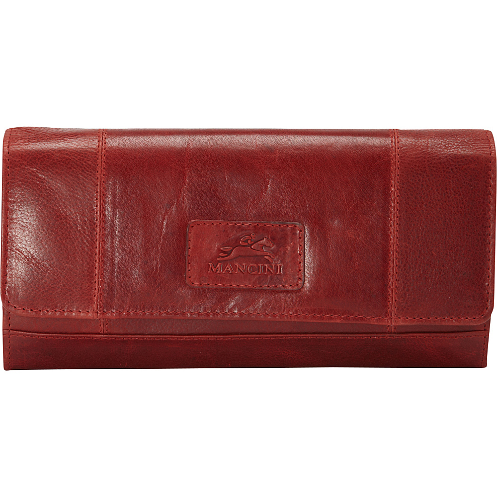 Mancini Leather Goods Ladies RFID Clutch Wallet Red Mancini Leather Goods Women s Wallets