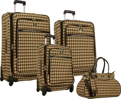 Image of Anne Klein Luggage Boston 4 Piece Set Chocolate/Tan houndstooth - Anne Klein Luggage Luggage Sets